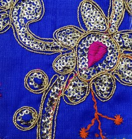Sequin Brocade Lame Flower 42 Inches Royal Blue (Yard)
