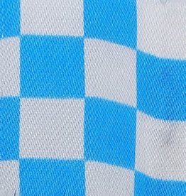 Satin Checkered - White & Turquoise