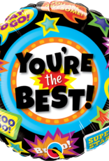 """18"""" 2 Sided Printed Mylar Balloon You're The Best Black/Multi"""