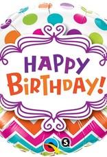 "18"" 2 Sided Printed Mylar Balloon Happy Birthday Chevron/Dots"