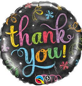"18"" 2 Sided Printed Mylar Balloon Thank You Black/Multi"