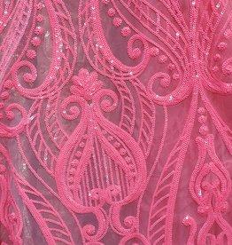 Glitzy Mesh  Neon Pink on Neon Pink