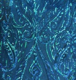 Glitzy Mesh  Neon Blue on Neon Blue