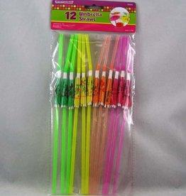 Umbrella Straws Assorted Colours 4.875X12.25X0.25 Inches