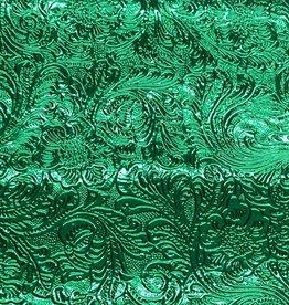 Pattern Western Leatherette with Fleece Backing Green