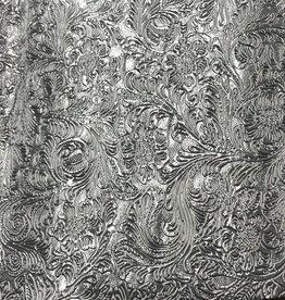Pattern Western Leatherette with Fleece Backing Silver