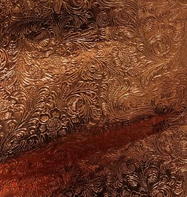 Pattern Western Leatherette with Fleece Backing Copper