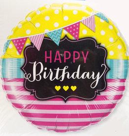 "18"" 2 Sided Printed Mylar Balloon Happy Birthday Mixed Print 2"