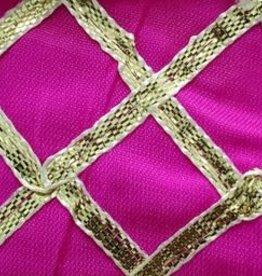 Criss Cross Lame 42 Inches Fuchsia Pink