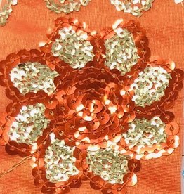 Flower Sequin Brocade Lame - Orange
