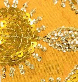 Flower Sequin Brocade Lame - Golden Yellow