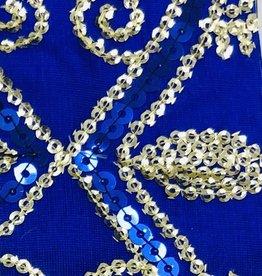 Flower Sequin Brocade Lame - Royal Blue