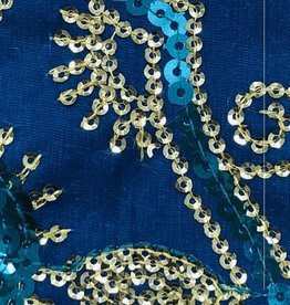 Flower Sequin Brocade Lame - Turquoise