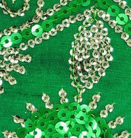 Flower Sequin Brocade Lame - Green