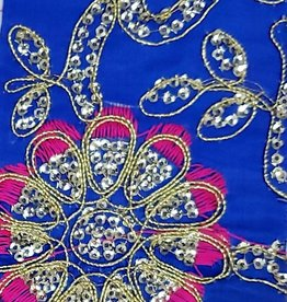 Embroidered Flower Patterned Lame - Royal Blue