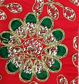 Embroidered Flower Patterned Lame - Red