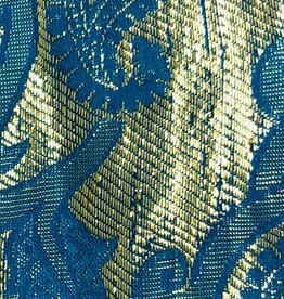 Paisley Gold Printed Lame 44 - 45 Inches - Turquoise