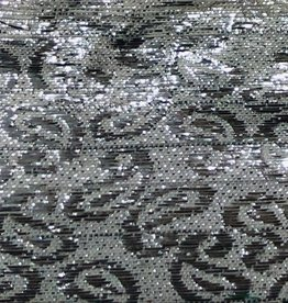 Paisley Patterned Brocade Lame - Silver