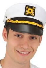Adult Yacht/Captain Hat White & Black Adult