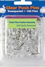 Clear Transparent Push Pins (100/Pk)