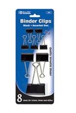 Assorted Size Black Binder Clip (8/Pack)