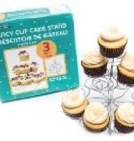 Fancy Cup Cake Stands Silver 9X9X2.625 Inches
