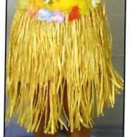 Juvenile Luau Raffia Skirt W/Flowers Gold 24X17 Inches