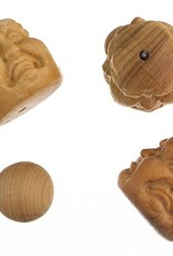 """Bead-Carved Buddha Head 3Faces 18X19Mm, 8"""" - Natural"""