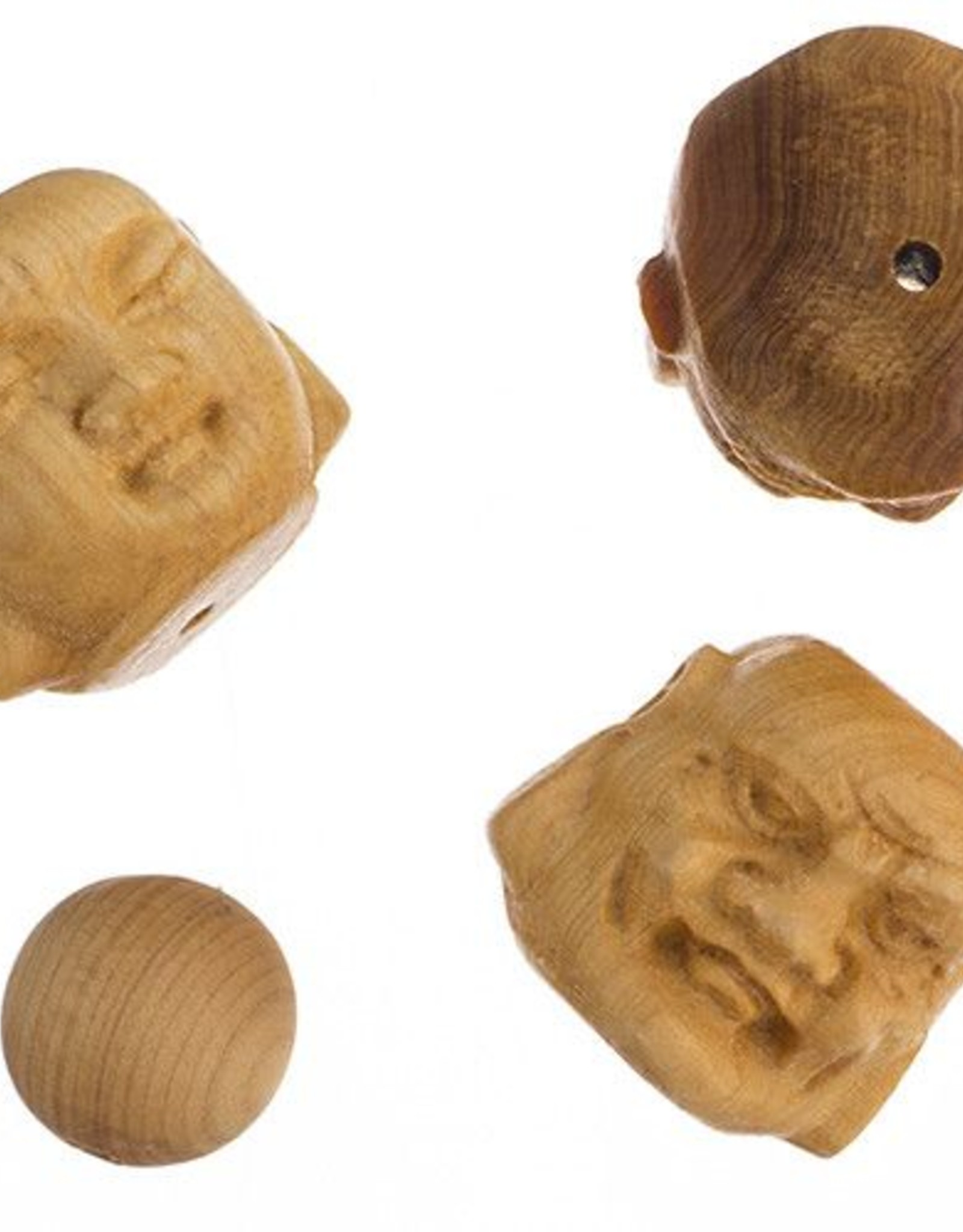 """Bead-Carved Buddha Head 2Faces 18X19Mm, 8"""" - Natural"""