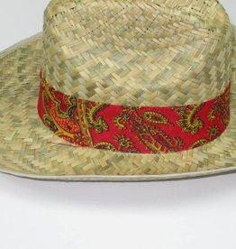 Straw Western Hat W/Bandana