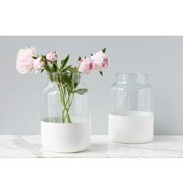 White Colorblock Mason Jar - Medium