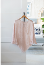Linen Sheer Poncho - Blush