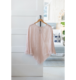 Linen Sheer Poncho - Blush