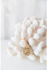 B22 Long Ethnic Necklace - Blush Pearl/Ivory Pearl/Shield