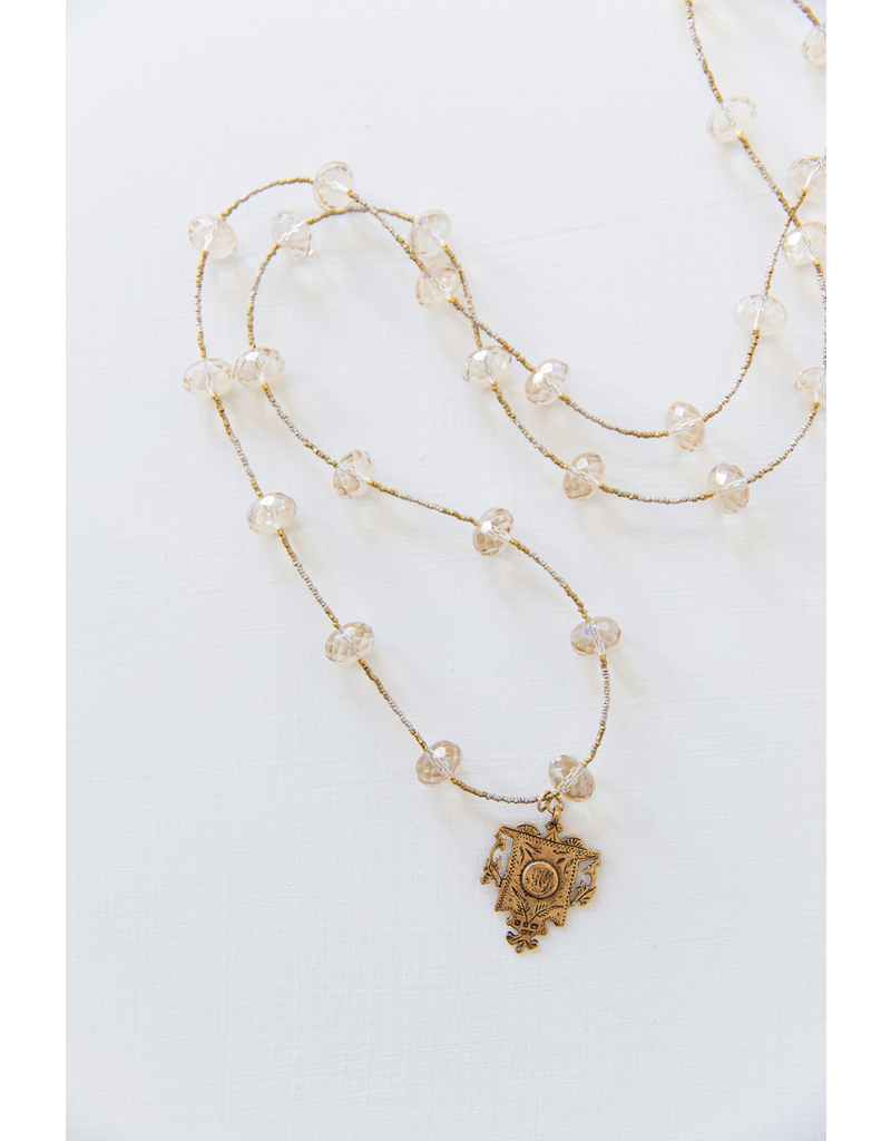B21 Hefty Spacer Necklace - Citrine/Shield