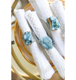 Geode Napkin Ring S/4 - Blue/Gold