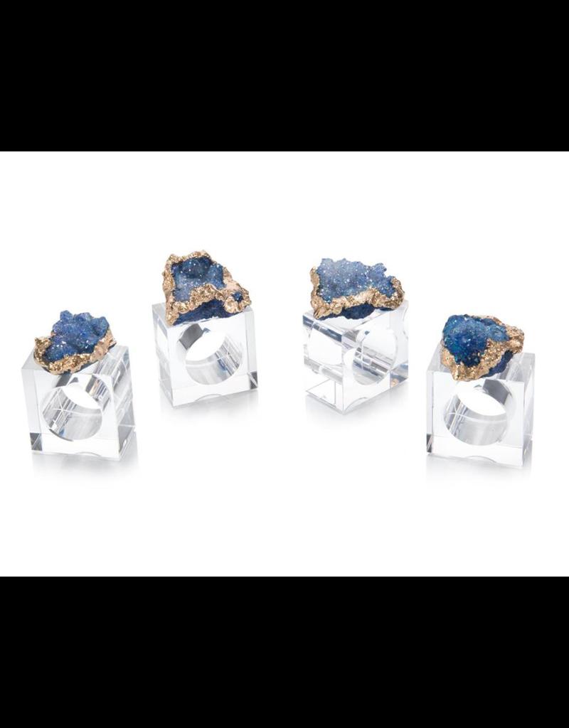 Geode Napkin Ring S/4 - Blue/Gold
