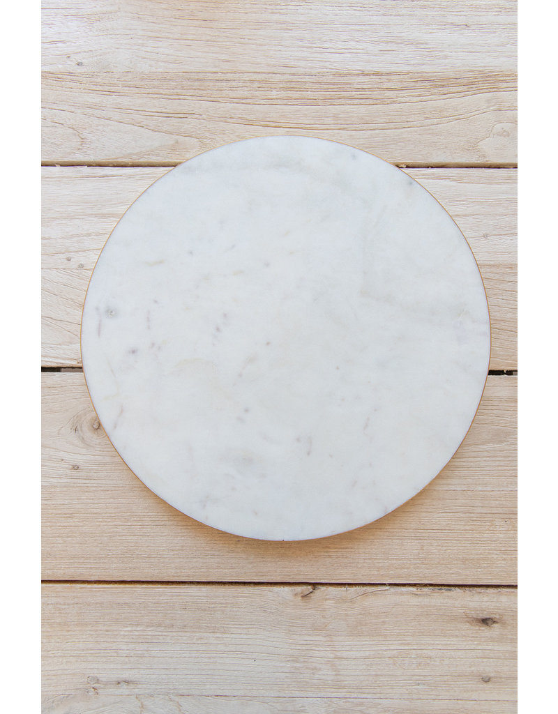 Brass Edged Marble Serving Board