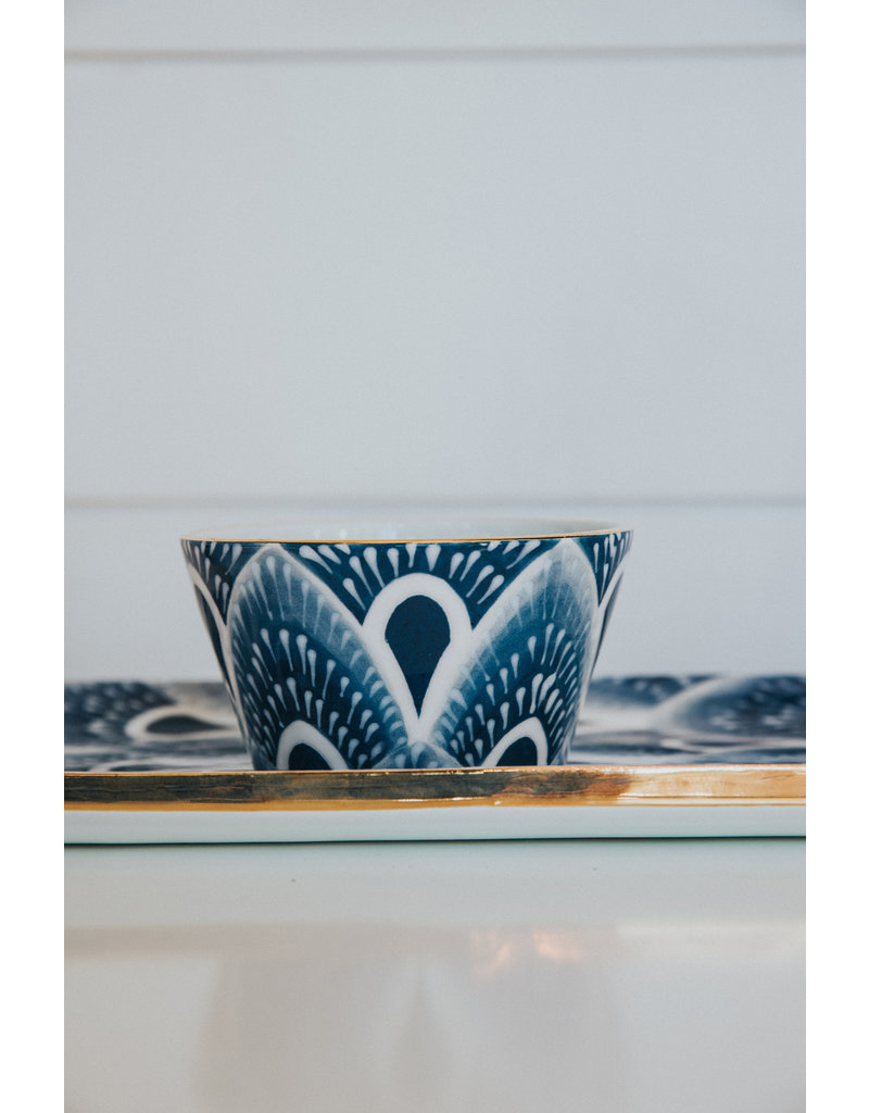 Cocktail Tray and Dip Bowl - West Palm - Indigo