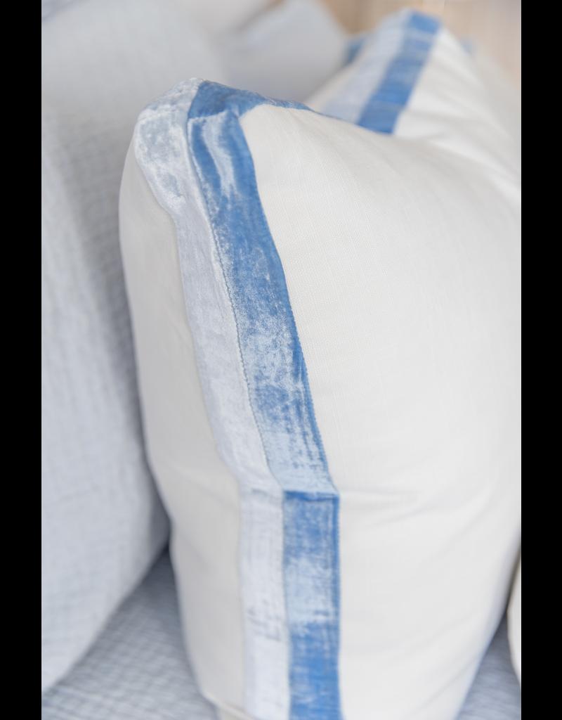 Double Tuxedo Linen Pillow - Lapis - 22x22