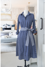 A-line Shirtdress - Dark Blue w/ White Stripe