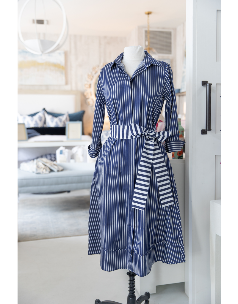 A-line Shirtdress - Dark Blue w/ White Stripe