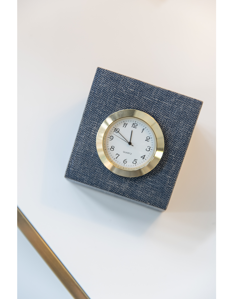 Vernazza Square Clock - Metallic Denim