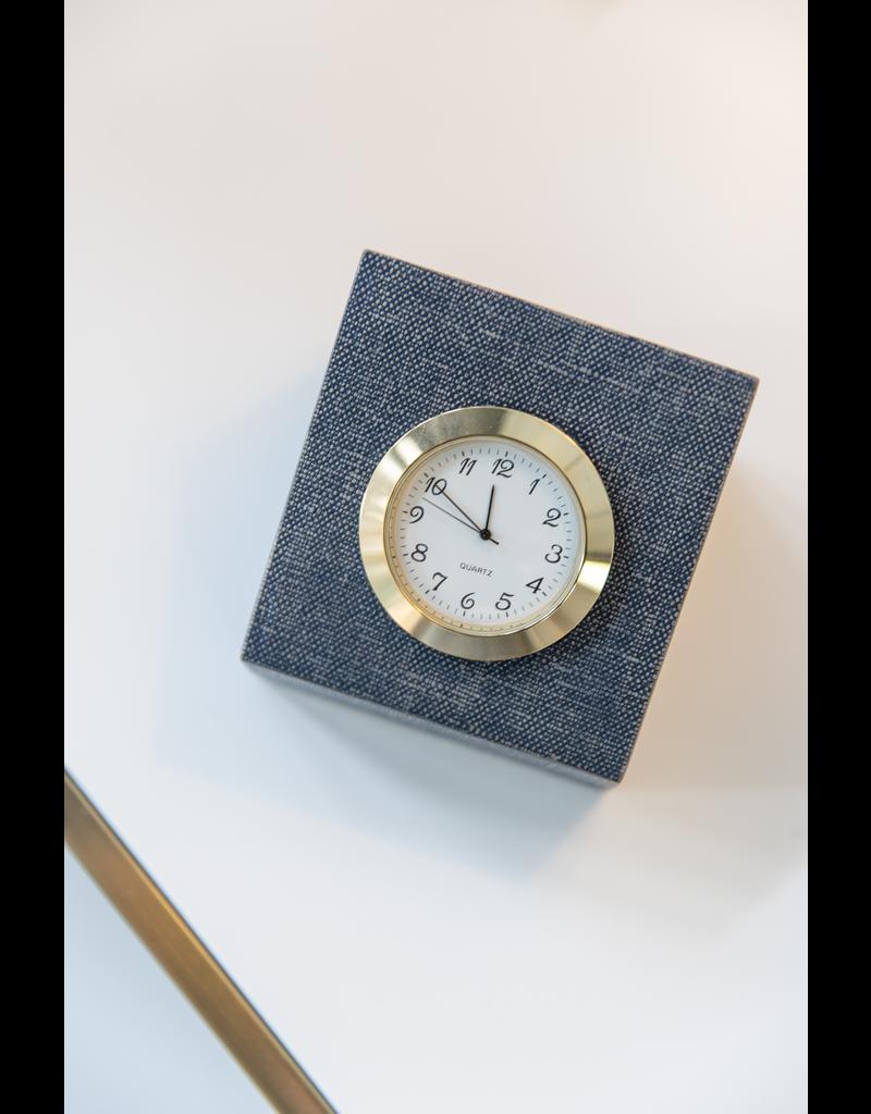 Vernazza Square Clock - Metallic Denim