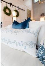 Ferns Linen Pillow - Robin's Egg - 16x36