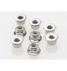 TRAXXAS TRA3647 NUTS, 4MM FLANGED NYLON LOCKING (STEEL, SERRATED) (8)