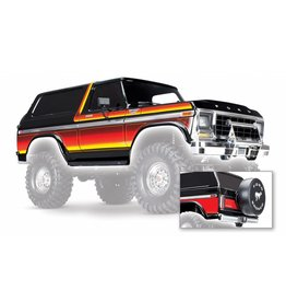 TRAXXAS TRA8010X BODY, FORD BRONCO, COMPLETE (BLACK) (INCLUDES FRONT AND REAR BUMPERS, PUSH BAR, REAR BODY MOUNT, GRILL, SIDE MIRRORS, DOOR HANDLES, WINDSHIELD WIPERS, SPARE TIRE MOUNT, RED AND SUNSET DECALS) (REQUIRES #8072 INNER FENDERS)