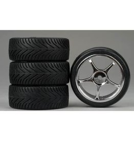 DYNAMITE DYN7952 5 SPOKE CHROME RADIAL TIRES (4)