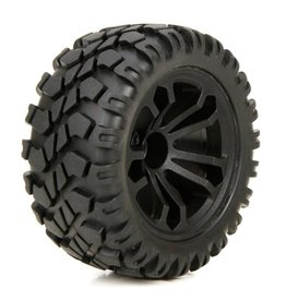 ECX ECX43010 PREMOUNT FRONT & REAR WHEEL AND TIRE (2): 1/10 4WD CIRCUIT