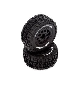 ECX ECX4003 PREMOUNT FROUNT AND REAR BLACK WHEEL AND TIRE: 1/10 2WD/4WD TORMENT